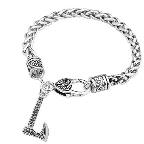 fishhook Celtic Knot Axe Trinity Symbol Pendant Wheat Chain Bracelet (Style 2)