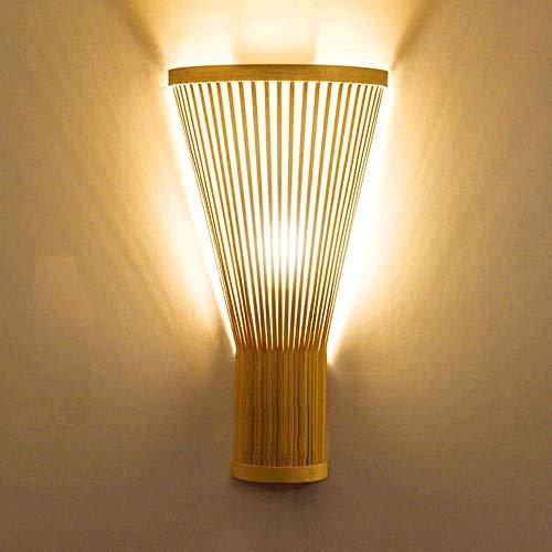 JJRPPFF Apliques de lámpara de Pared Chinos, Luces de Pared Retro con Acabado de bambú, Accesorio de iluminación para decoración del hogar Interior para Pasillo de Hotel, Sala de Estar, 40cmH