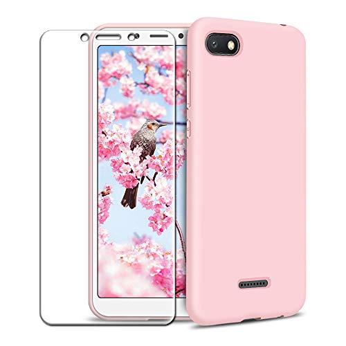 Funda Xiaomi Redmi 6A + Protector de Pantalla de Vidrio Templado, Carcasa Ultra Fino Suave Flexible Silicona Colores del Caramelo Protectora Caso Anti-rasguños Back Case - Rosa Claro