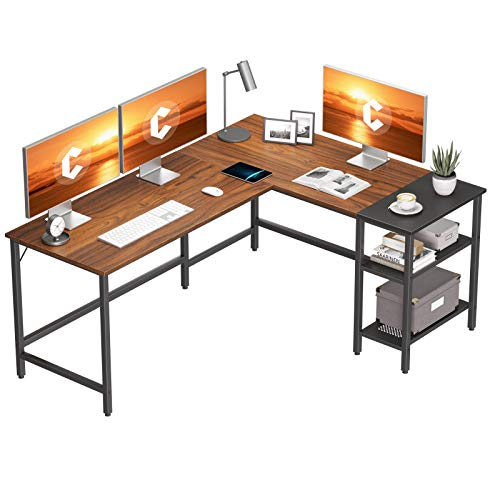 home office desk with storages CubiCubi L Shape Computer Desk with Storage Shelf Study Writing Table for Home Office, Modern Simple Style PC Desk, Black Metal Frame