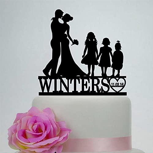 Decoración para tartas de familia, color negro, para boda, acrílico, para novia, novio con tres niñas, decoración de fiesta para pareja con decoración de pastel infantil