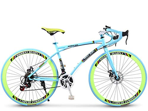 ZHTY Road Bicycles, 24-Speed 26 Inch Bikes, Double Disc Brake, High Carbon Steel Frame, Road Bicycle Racing, Men's and Women Adult-Only
