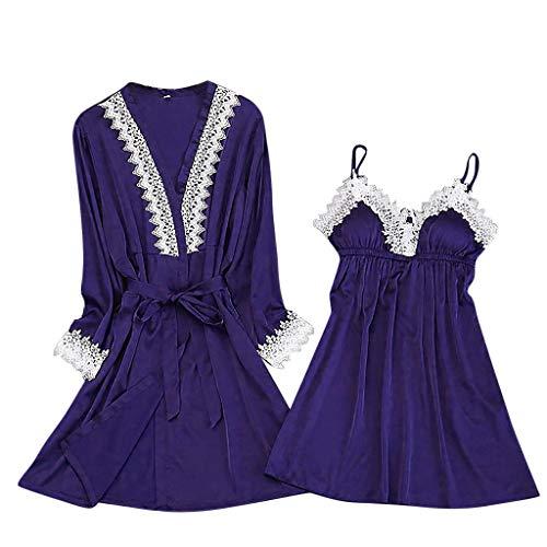 Fenverk Damen 2Stück Dessous Die Seide Spitze Robe Kleid Puppe Nachthemd Nachtwäsche Kimono Einstellen Sexy Sling Nachthemd Nachtwäsche Seide Spitze Kleid Babydoll Nachthemd(2PC Blau,XL)