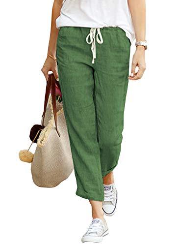 Yidarton Damen Hose Sommer Stoffhose Einfarbig Freizeithose Elastischer Bund Leinenhose Mit Taschen (Grün, XL)
