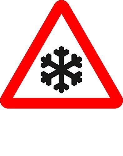 Risico van ijs Road veiligheidsteken - 3mm Aluminium bord voorzien van 2 strips Kanaal naar achteren voor montage op post 300mm x 300mm