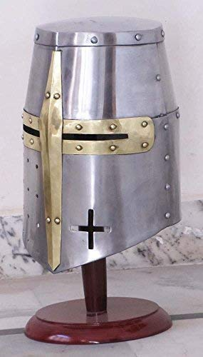 The New Antique Store Medieval Templar Crusader Knight Armor Helmet With Wooden Stand Greek Spartan Roman by Shiv Shakti Enterprises