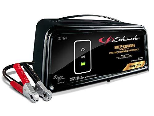 Schumacher SC1320 6 Amp 2 Amp 6V/12V Fully Automatic Battery Charger Maintainer Auto Desulfator Auto 6V/12V Battery Detection For Cars, Trucks, SUVs, RV Batteries