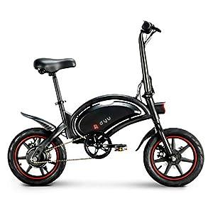 immagine di LENTIA-Bicicletta elettrica pieghevole, chilometraggio, 50 km, batteria agli ioni di litio da 6 Ah, velocità massima 25 km/h, 14 pollici, CE freno anteriore e posteriore
