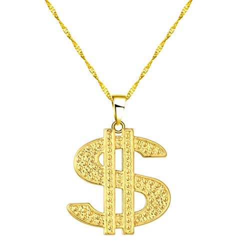Chandler Gold US Dollar Pendant Necklace for Women Girls Hip Hop Raper Gift Sign Money Dollar Necklace Dainty Jewelry