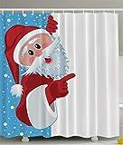 ABAKUHAUS Weihnachten Duschvorhang, Santa Cartoon Jolly, Set inkl.12 Haken aus Stoff Wasserdicht Bakterie & Schimmel Abweichent, 175 x 200 cm, Multicolor