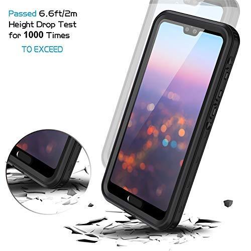 Lanhiem für Huawei P20 Pro Hülle, IP68 Zetrifiziert Wasserdicht Handy Hülle 360 Grad Schutzhülle, Stoßfest Staubdicht und Schneefest Outdoor Schutz mit Eingebautem Displayschutz - Schwarz - 4