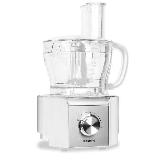 H Koenig MX-18 Robot de cocina procesador de alimentos (800W, baso de cristal 1,5L, 8 funciones: amasa, pica, corta, ralla, mezcla, bate, muele y pica hielo) Blanco