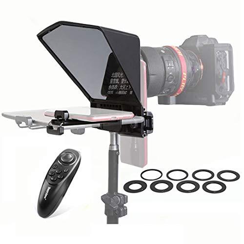 Desview T2 Teleprompter Soporta Lentes de Gran Ángulo Teleprompter Entrevista con Control Remoto y 8 Tamaños de Anillos Adaptadores para Canon Nikon Sony Camera DSLR y Cámara Video y Tableta y Móvil