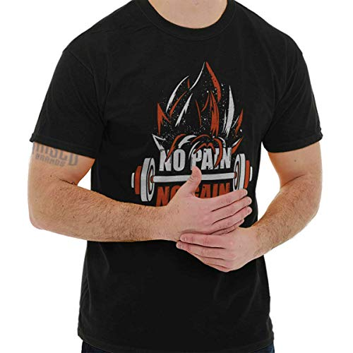 No Pain No Gain Super Saiyan Dragon Ball Z Goku Workout T-Shirt Tee, Black, Large