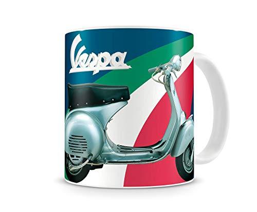 Vespa Becher, Tasse - Blau/Italienische Nationalfarben mit Rollerabbildung und Schriftzug