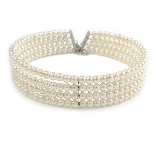 Avalaya - Gargantilla rígida de 4 filas de perlas de cristal de imitación de color crema claro con cierre de tono plateado, 38 cm de largo y 5 cm de extensión