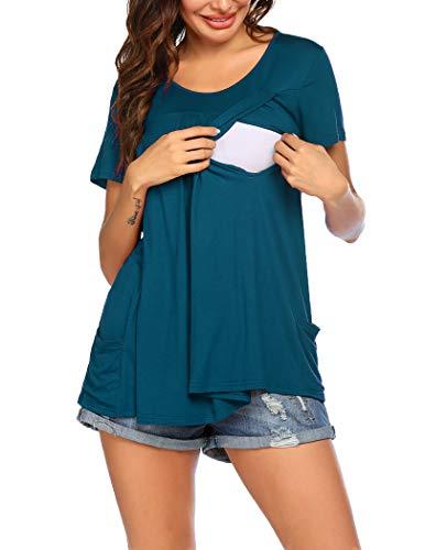 Ekouaer Camiseta de lactancia para mujer, manga corta, para verano, función de embarazo, con bolsillos, tallas S-XXL azul verde M