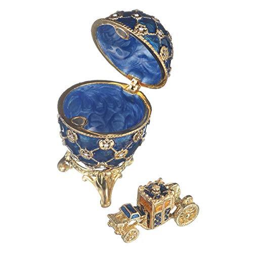 huevo de coronación ruso de Estilo Faberge / caja de joya con carruaje y el Águila imperial 6,5 cm azul