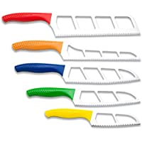 5-Piece EasySlice Knife Set with Scalloped Double Serrations