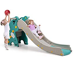 2. Baby Joy 4-in-1 Slide with Basketball Hoop and Ring Toss Game