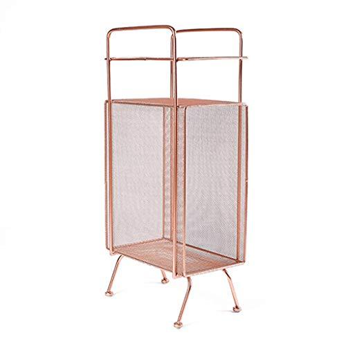 Bücherregale Eisen Ecke Boden Rack Multifunktions Lagerregal Wohnzimmer Lagerregal Einfache Nachttisch Mini Couchtisch Vitrine (Color : Rose Gold)