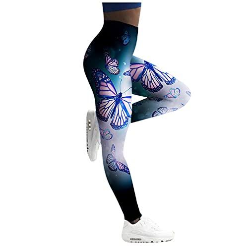 URIBAKY - Pantaloni da yoga da donna, con stampa a farfalle, pantaloni sportivi, vita alta, elasticizzati, a compressione, per fitness, corsa, chic, 0bianco, L