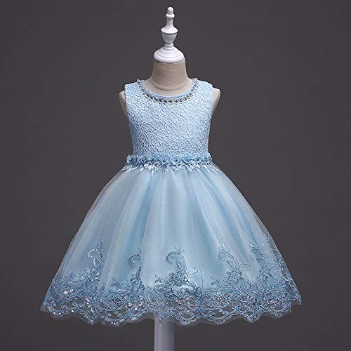 Vestido Blanco Vestido de Princesa de Hilo para niños pequeños Vestido de Novia Falda de pontón Chica de Verano(Azul Claro,150cm)