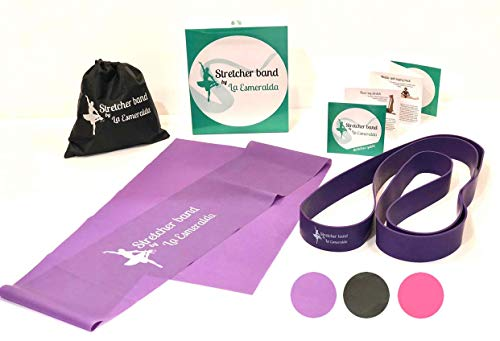 Stretch Bands set of 2 for Ballet, Dancers, Gymnastics .Resistance bands to Improve Flexibility, Splitting and Strenght. 3 Colors, Gift box, Instruction booklet, carry bag Including. (Purple set of 2)
