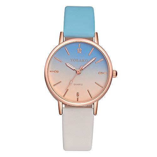 Neueste! Uhren Mode Cute Candy Farbe Damen Armbanduhr Rosa Farbverlauf Kleid Uhr PU Lederband Analog Quarz Uhr Lederarmband LEEDY