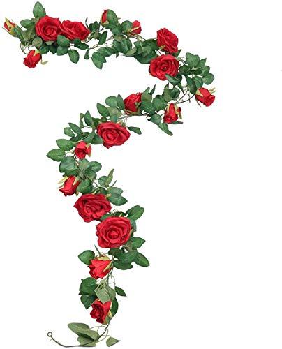 SHACOS Juego de 3 200cm Guirnalda de Rosas Rojas Artificiales con Hojas Verdes Hiedra de Seda Plantas Colgantes para Colgar Decoración Boda Arco Cercas Hogar Navidad Interior Partido