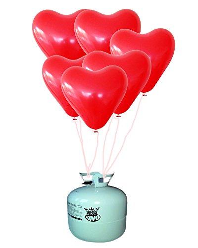 Prezer 25 Herzen Luftballons rot mit Ballongas Ballon Helium Heliumfüllung