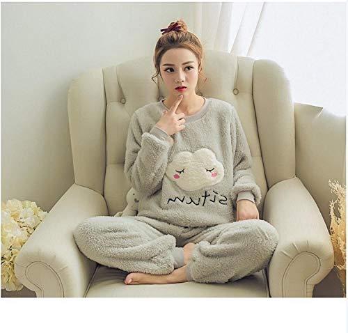 ODMKGE Herbst und Winter Frauen Pyjama Anzug Pyjama Set Dicke warme weibliche Tiere