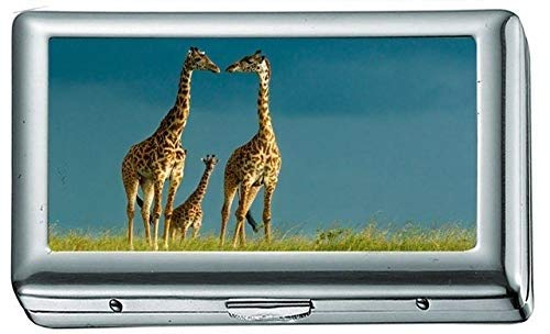 Giraffe Family Schöne Zigarettenetui / -schachtel Visitenkartenetui Edelstahlgehäuse Silber Metall Geldbörse Schutz