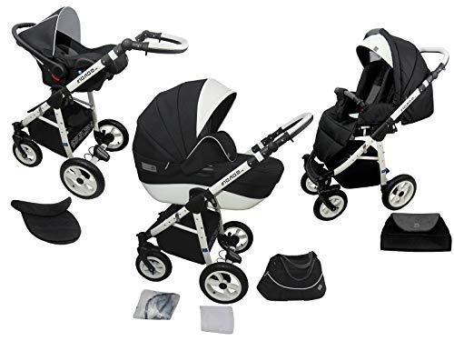Neues Modell TOMAS Kinderwagen MONO Kombikinderwagen 3in1 System 9 Farben wählbar, schwarz/weiß