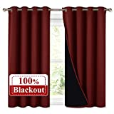 NICETOWN Kitchen Full Blackout Curtain Panels, Super Thick and Soft Insulated Window Covers, 100% Blackout Draperies with Black Backing for Cafe Window (Burgundy Red, Set of 2 PCs, 52 by 45-inch)