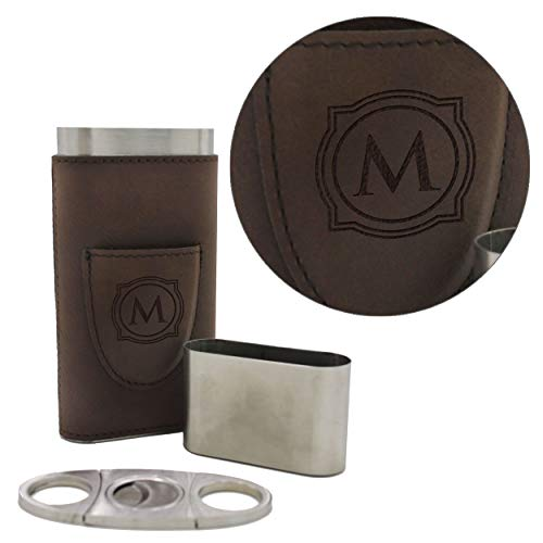 Custom Personalized Cigar Holder - Monogrammed Cigar Gift Case with Cutter (Brown)