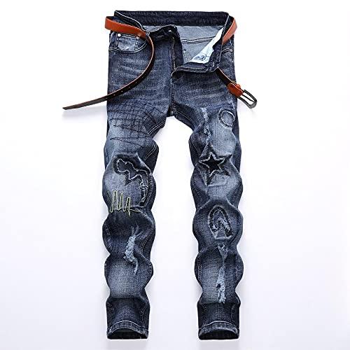 WQZYY&ASDCD Jeans Vaqueros Pantalon Pantalones Vaqueros De Bicicleta Elásticos Punk Hip Hop De Calle Rasgados para Hombre Agujeros De Moda Pantalones Vaqueros Rectos De 29 Pulgadas 9706No