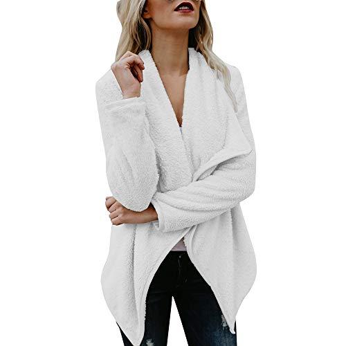 Sanyyanlsy Women's Fashion Casual Long Sleeve Open Front Cardigan Tops Winter Ladies Faux Fur Woolen Sweater Jacket Coat White