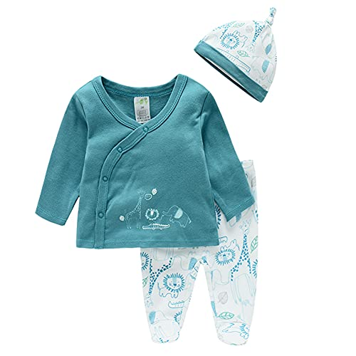 Recién Nacido Bebé Niños Niñas Conjunto de Trajes de Dormir Body del Algodón Botone Camisa de Manga Larga Pantalones de Pies con Sombrero Juego de 3 Piezas Ropa de Casual de Otoño Verde 6-9 Meses