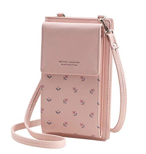 Handy Umhängetasche Schultertasche Brieftasche Handytasche für Damen Weiches PU-Kunstleder Smartphones bis 6 Zoll 8 Kreditkartenfächer (Rosa)
