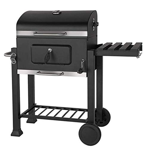 Outdoor Garden Barbecue Portable BBQ Grill Outdoor Large Charcoal Trolley Rectangular BBQ Barbecue Grill, Steel Garden Cooking Patio Heat Indicator Wheels Shelves Removable Ash Catcher Height Adjustab