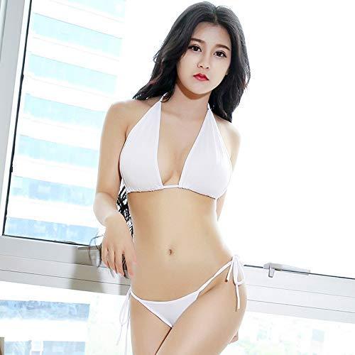 Huaheng 2 stks/set Tops+Broek Vrouwen Bikini Pak Diepe V Hals Halter Backless Tie Zijkant Lage Taille Kleur: wit