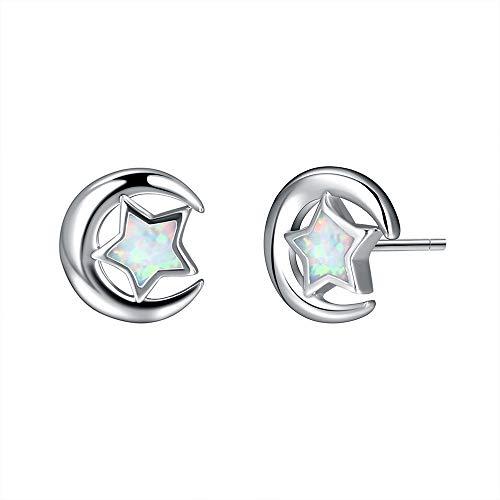 Stud Earring Opal Pentagram Studs Pendant Earrings Jewelry Gifts for Women Girls (White)