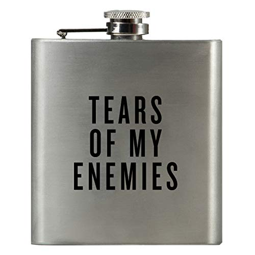 TEARS of My Enemies   Damn Fine Hip Flask   6oz Stainless Steel   Funny Men's, Bachelor, Liquor Guy Gift for Whiskey Lovers   Unique Guy and Military Flasks