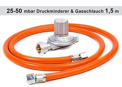 Anschluss-Set bestehend aus Druckminderer 25-50 mbar (stufenlos regelbar) + Gasschlauch 1,5 m (für geeignete Gasgeräte/Gaskocher, Gasherd, Hockerkocher, Campingkocher Heizung Heizofen Gas Regler
