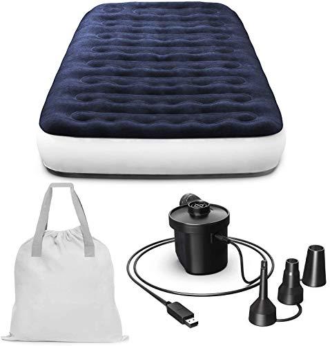 Bolsa de viaje de alojamiento de aire de una sola cama inflable, bomba de aire portátil con cable de carga USB,Blue