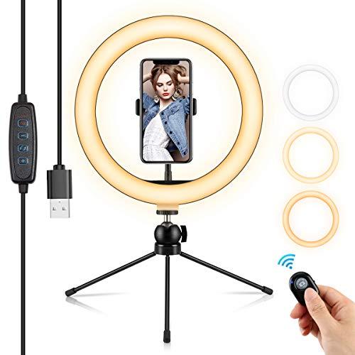 Anillo de luz de 10.2 pulgadas con soporte de trípode, luz regulable para selfie, fotografía de video de YouTube, maquillaje