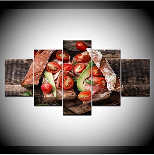5 opeenvolgende schilderijen decoratief behang wandschilderij wandkunst op canvas woonkamer decoratie huis 5 stuks tomaten groente eten brood schilderijen schilderijen schilderijen op canvas Wall Art