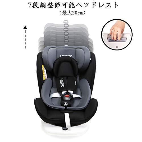 LETTASチャイルドシート回転式新生児~12歳頃(0~36kg)ISOFIX対応シートベルト固定一年保証(ブラック)