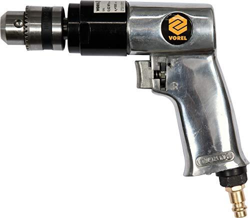 Voorel perslucht boormachine met rechts-/linksloop, 1800 omw/min, 113 liter/min, met 10 mm tandwielboorhouder, persluchtboormachine persluchtschroevendraaier